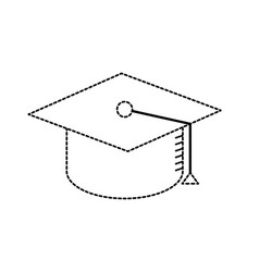 Dotted shape cap graduation to ceremony sucess vector