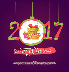 figures 2017 and merry christmas on dark vector image