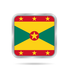 flag of grenada shiny metallic gray square button vector image
