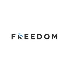 Freedom bird lettering logo design vector