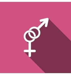 Gender symbol icons with long shadow vector