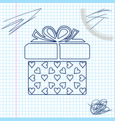 gift box and heart line sketch icon isolated on vector image