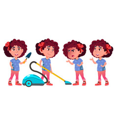 girl kindergarten kid poses set playful vector image