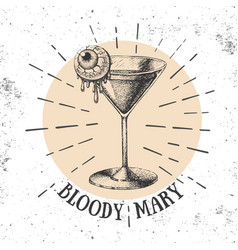 halloween hand drawn cocktail bloody mary vector image