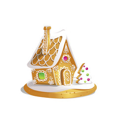 Hand drawnin gingerbread house isolated on white vector