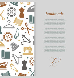 Handmade handcraft sewing banner design vector