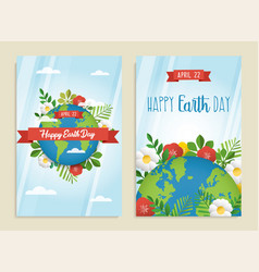 Happy earth day greeting card set of green planet vector