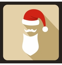 Hat with pompom and long beard of Santa Claus vector