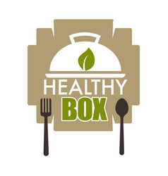 Healthy box dietary lifestyle woth food rich in vector