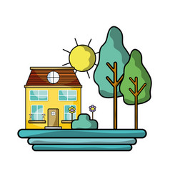 house with trees and plant with flowers and sun vector image