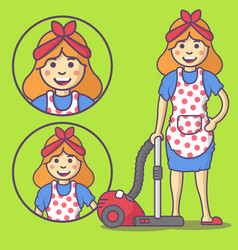 Housewife in apron and slippers vector