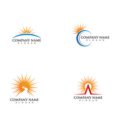 Icon logo template sun over horizon vector