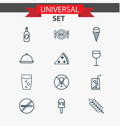 Icons set collection of wineglass hooch sundae vector
