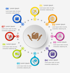 Infographic template with shipping icons vector