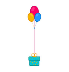 isolated birthday present with balloons icon vector image