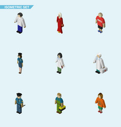 Isometric person set of female guy officer and vector