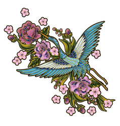 Japanese blue cranes with pink flowers elements vector