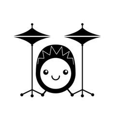 Kawaii battery instrument musical icon vector