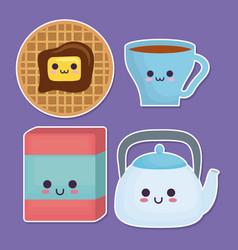 Kawaii breakfast food design vector