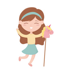 Kids zone cute little girl with horse in stick vector
