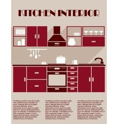 Kitchen interior infographic template vector