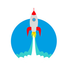 Launch of a space rocket ship icon vector