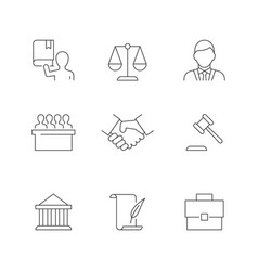 Lawyer and law line icons on white background vector