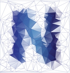 Letter N low poly vector