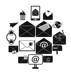 mail icons set simple style vector image