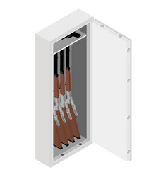 Metal safe with rifle gun inside isometric view vector