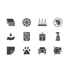 Microfiber cloth properties flat glyph icons vector