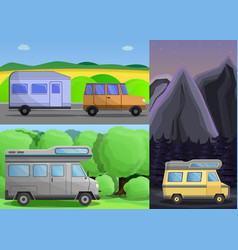 motorhome banner set cartoon style vector image