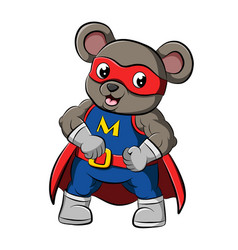 Muscular mouse with red mask is blue costume vector