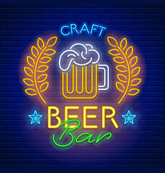 neon sign craft beer bar vector image