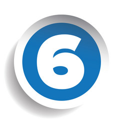 Number Six sticker blue vector