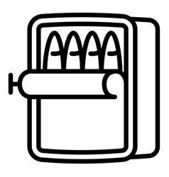 Open fish can icon outline style vector