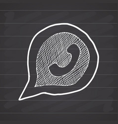 Phone handset in speech bubble hand drawn icon on vector