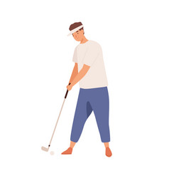 professional male golfer with golf club smiling vector image