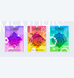 Rainbow summer poster set in geometric style vector