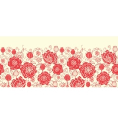 Red poppy flowers horizontal seamless pattern vector image