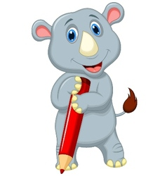 Rhino cartoon holding pencil vector