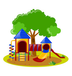 scene with playground in park vector image