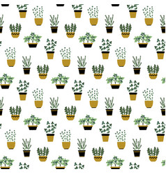 seamless pattern with culinary herbs in pots vector image