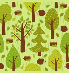 seamless pattern with hedgehog in forest vector image