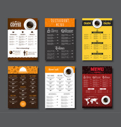 set a4 menu for cafes and restaurants vector image