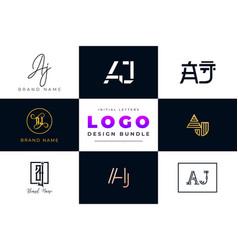 Set collection initial letters aj logo design vector