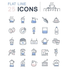 Set Flat Line Icons Coffee vector image