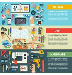 Set of flat design creative process concepts vector