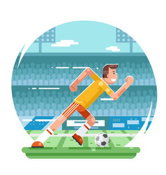 Soccer football player running character stadium vector