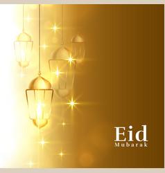 Sparkling eid mubarak golden greeting background vector